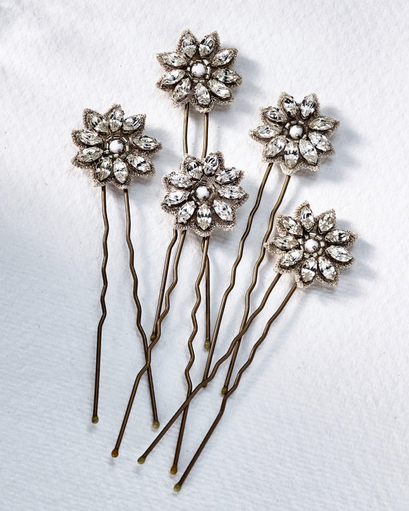 Crystal Daisy Pins - Bridal Hair Accessories - Hair Pins - Crystal and Milk Glass