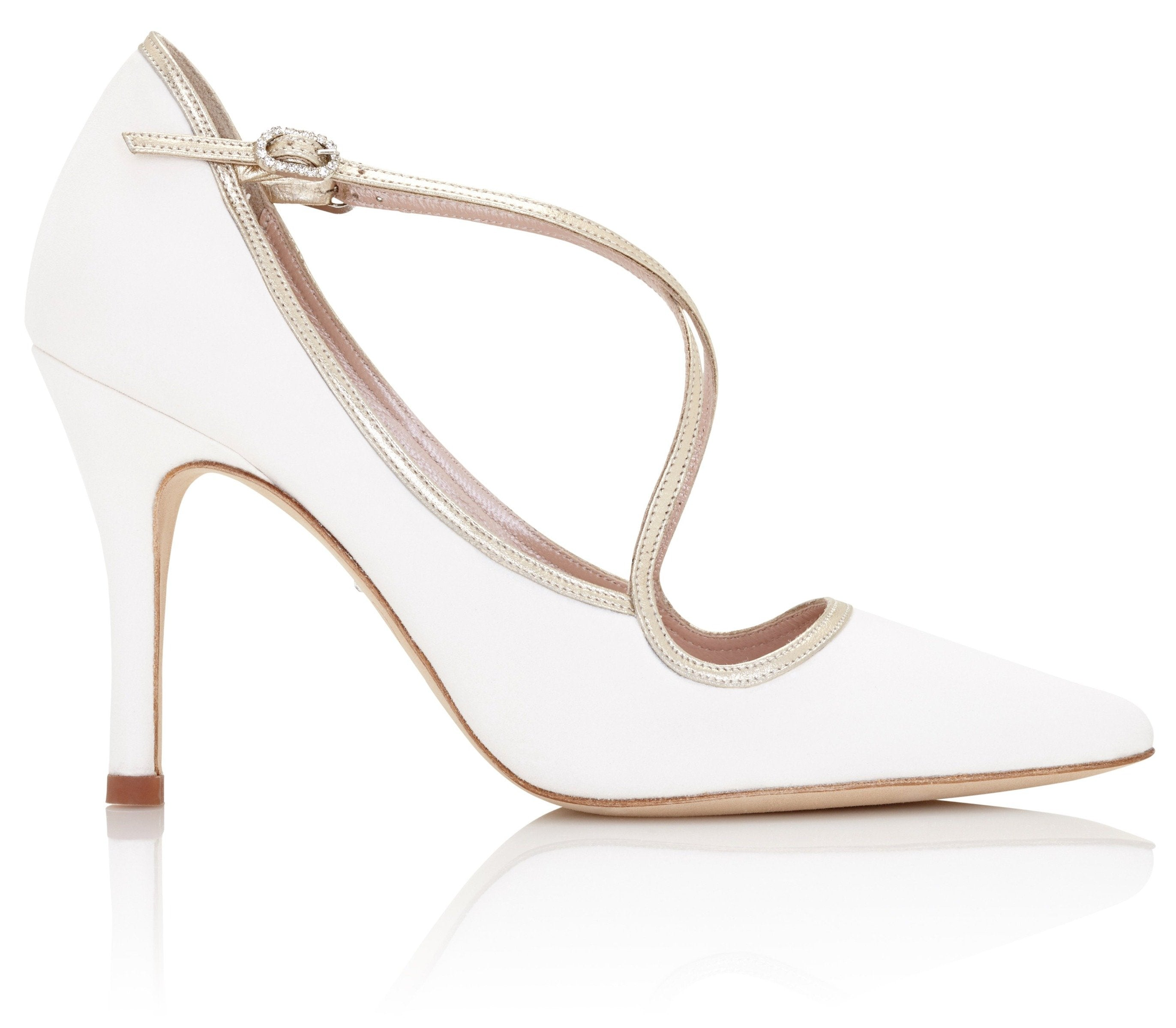 Ivory and Gold Pointed Toe Wedding Shoes with Gold Cross-Over Straps