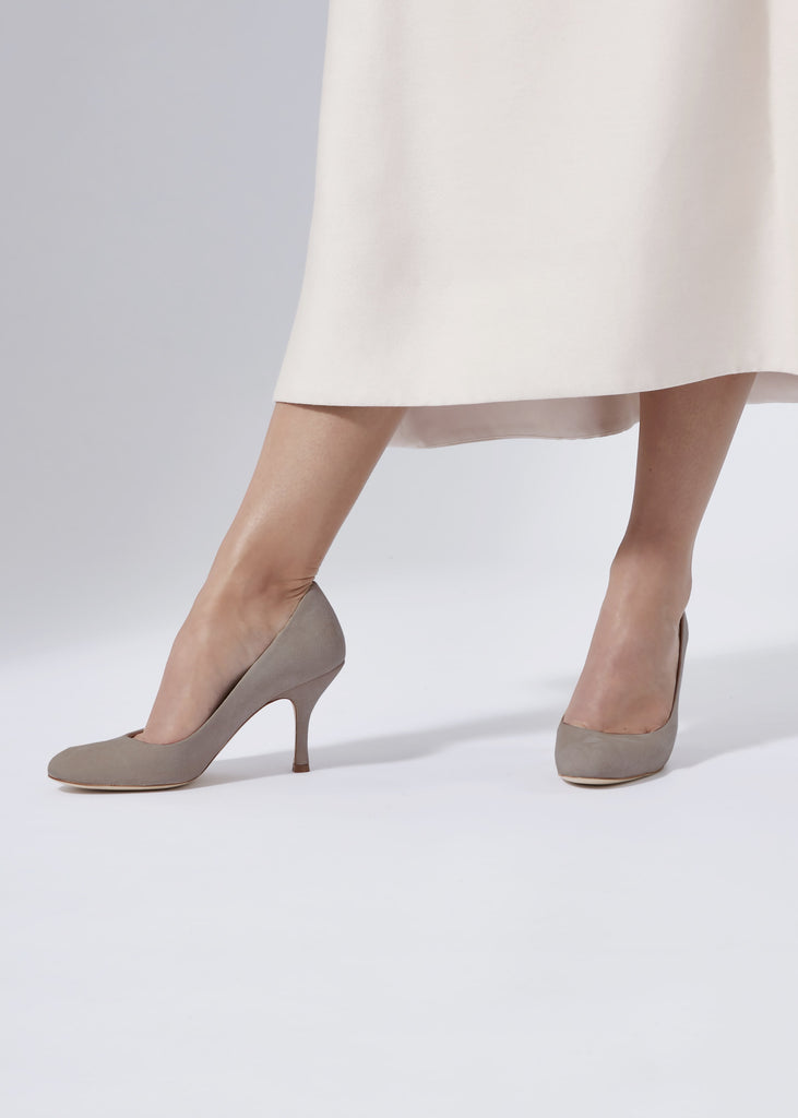 Taupe Grey Suede Court Shoe By Emmy London For Occasions and Special Events Round Toe Grey Shoe