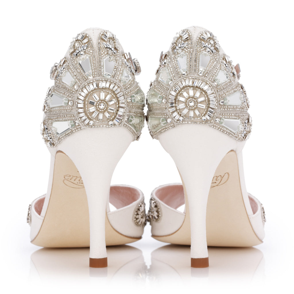 Cinderella - Ivory Kid Suede - Bridal Shoe - Ivory Kid Suede - High Heel - Sandal - Silver Leather Trim