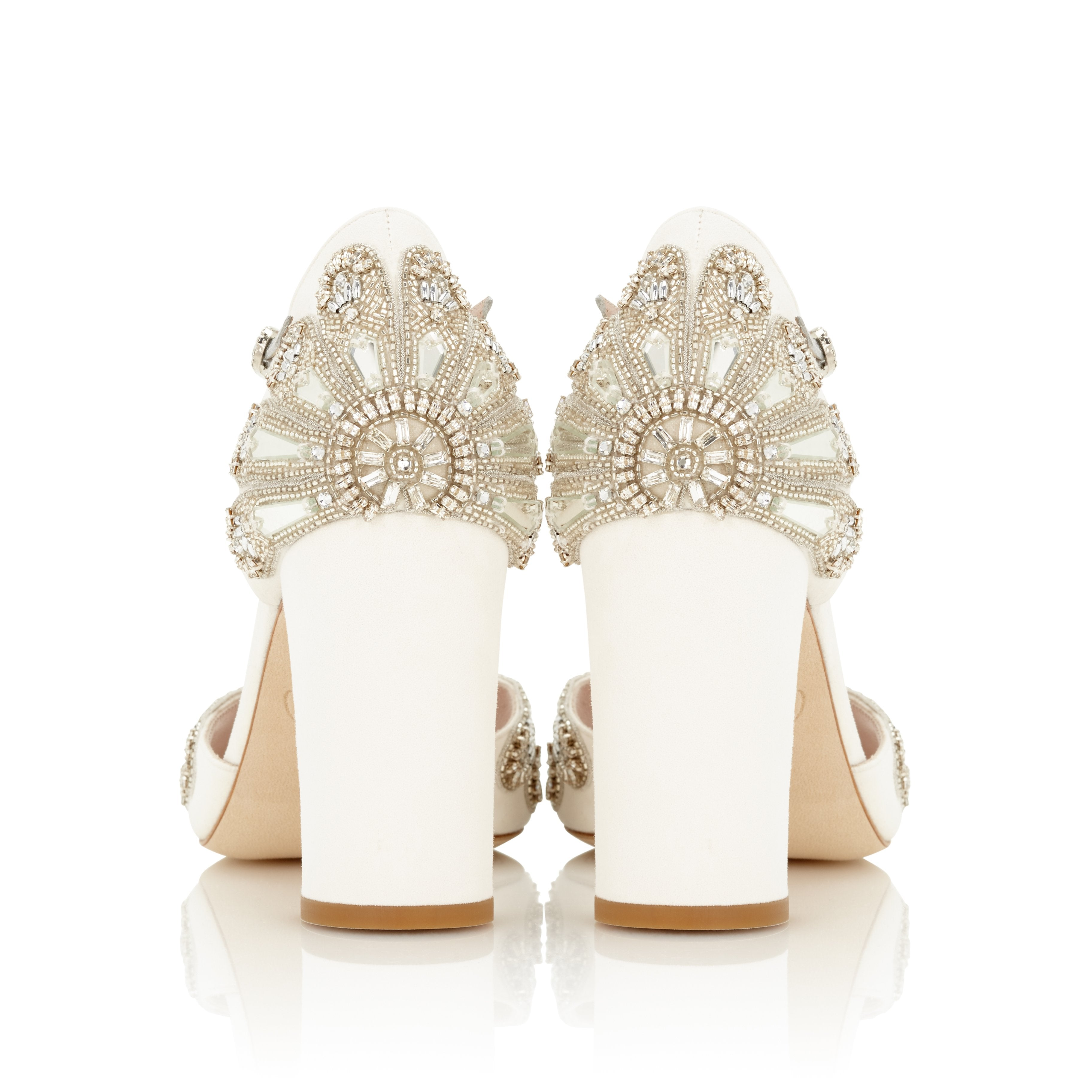 846dc5ca0e23 ... Cinderella Block Heel Bridal Shoes Ivory Suede Embellished Wedding  Sandal with Silver Details ...