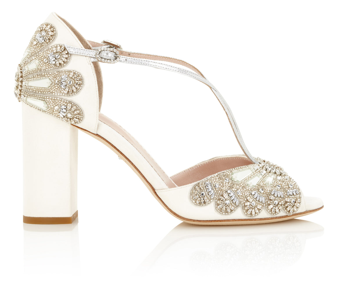 4c9aa8e2306ac3 Cinderella Block Heel Bridal Shoes Ivory Suede Embellished Wedding Sandal  with Silver Details
