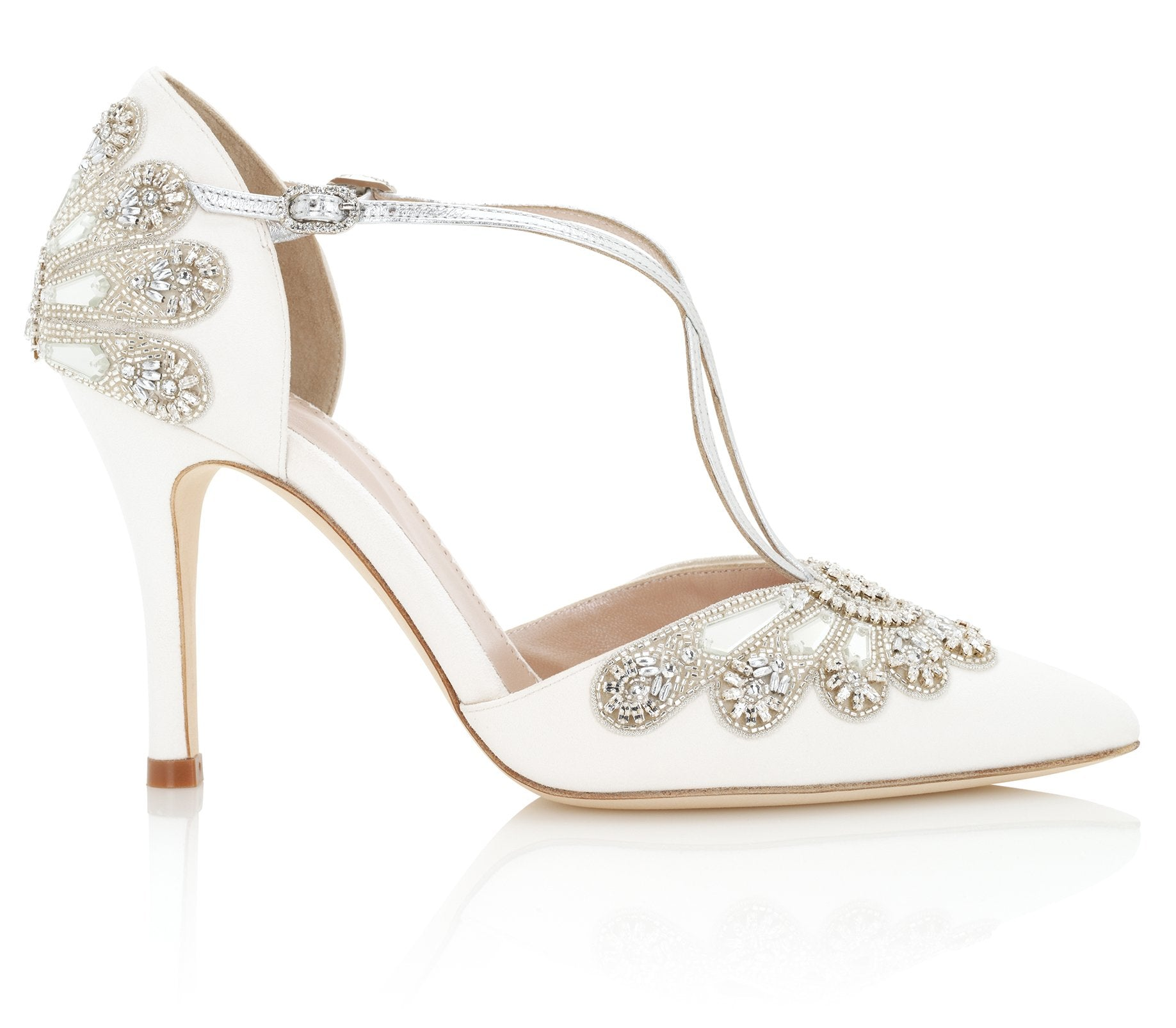 Cinderella Point Ivory and Silver Embellished Bridal Shoes By Emmy London