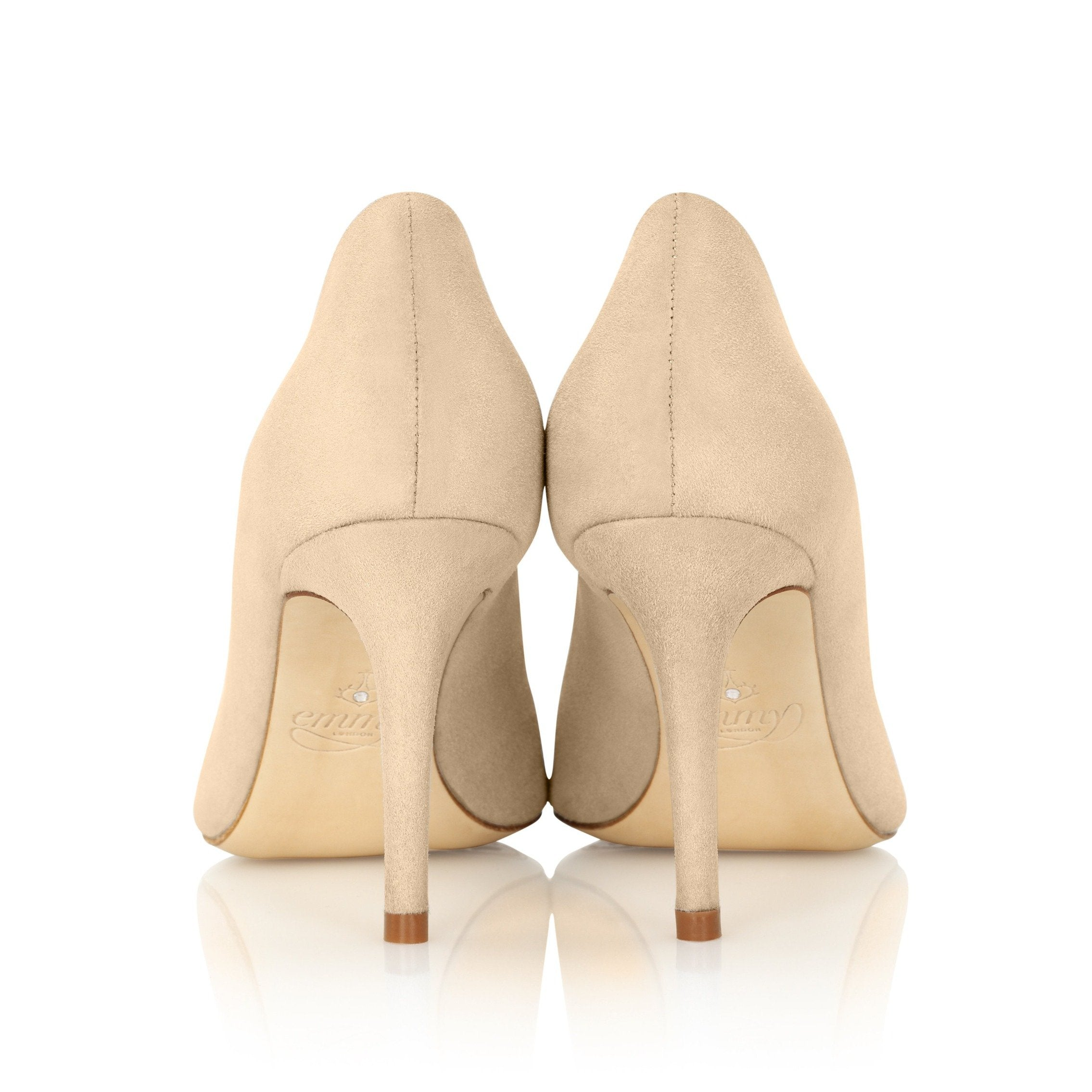 Mid Heel Beige Suede Pointed Court Shoes By Emmy London
