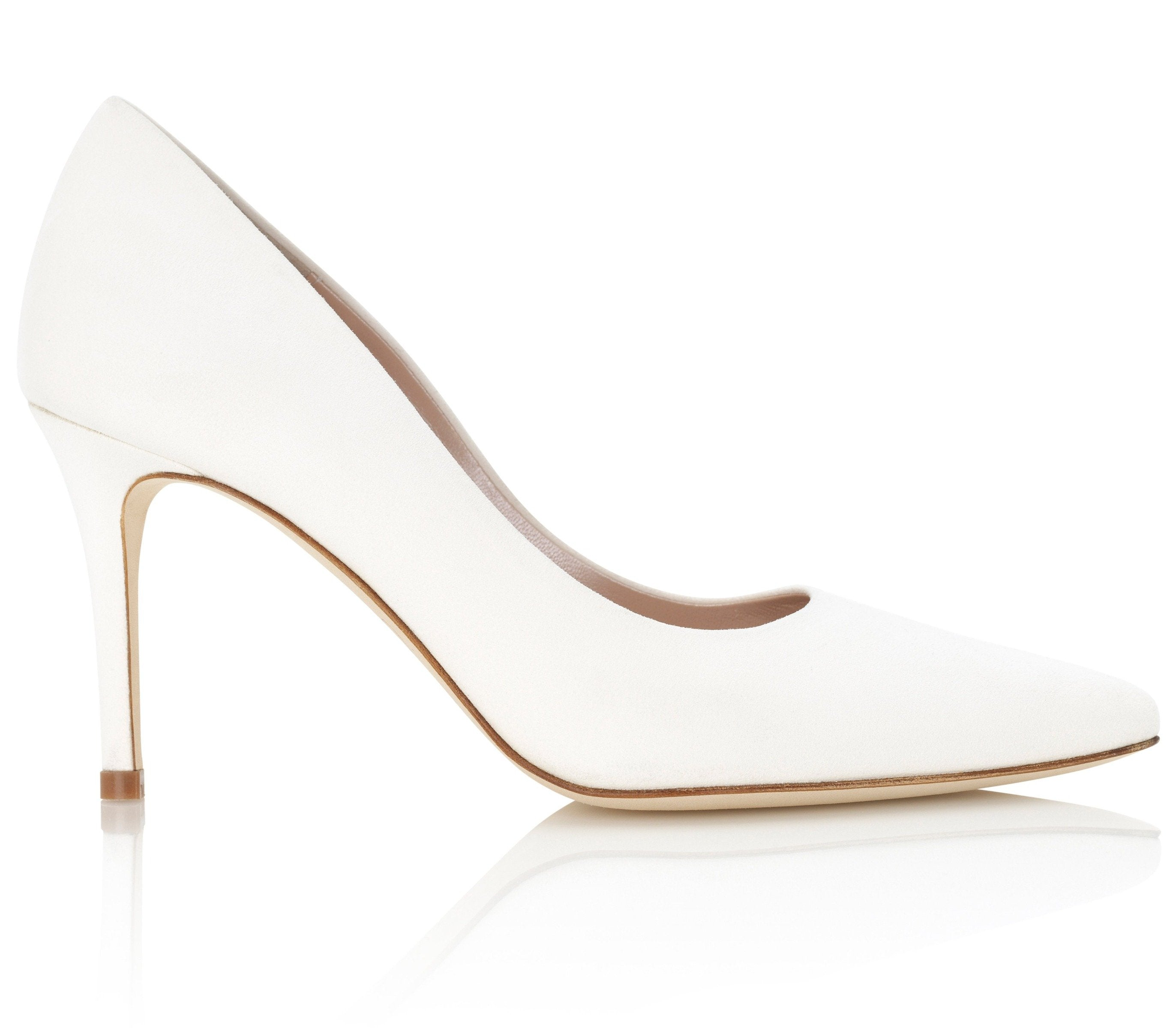 Ivory Suede Bridal Court Shoes By Emmy London