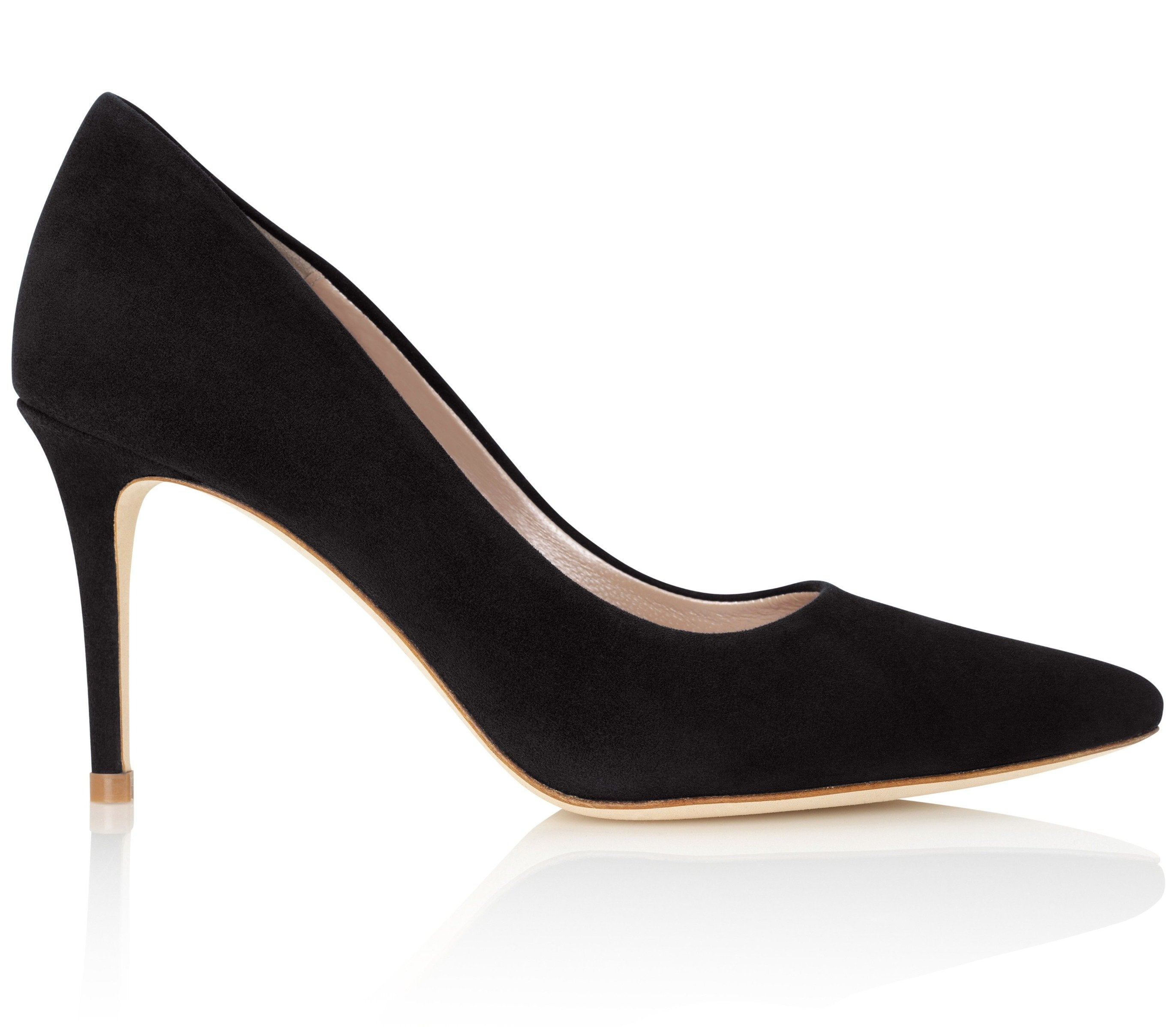Claudia Jet Suede Court Shoes With Mid Straight Heel By Emmy London
