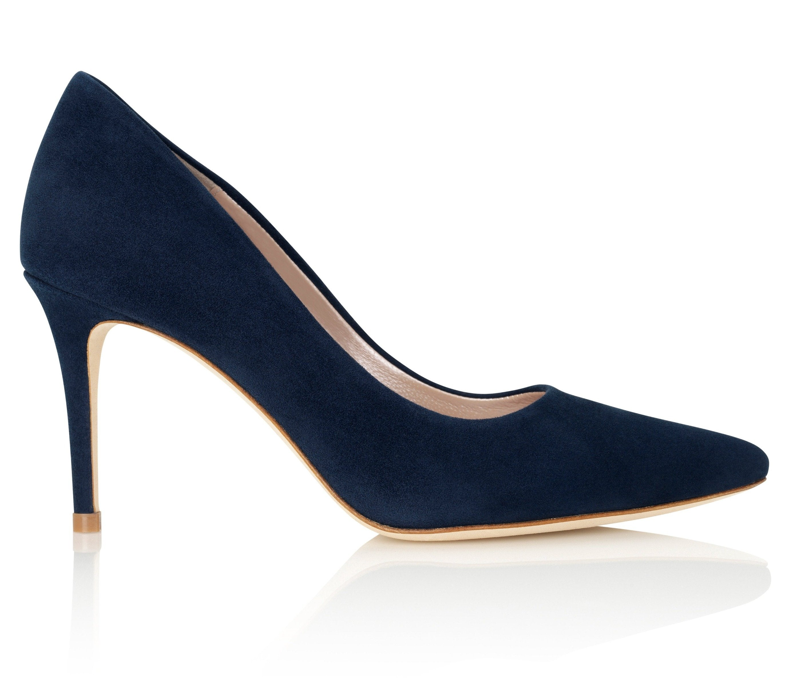 Claudia Midnight Suede Mid Heel Court Shoes By Emmy London