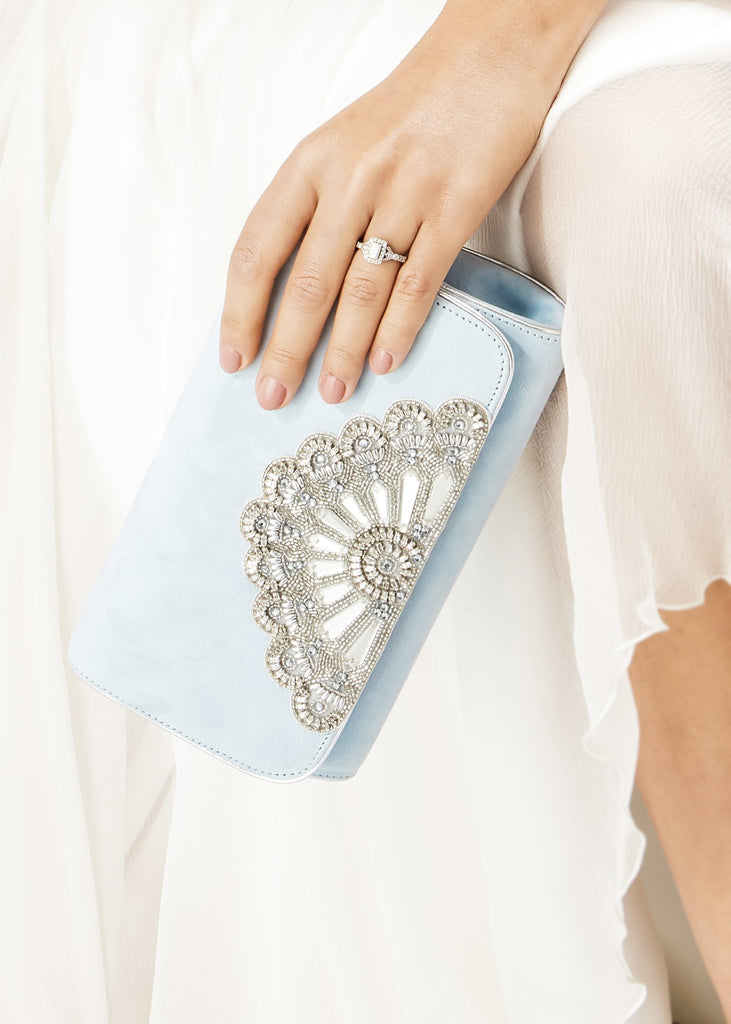 Blue Bridal Clutch Bag Embellished with Swarovski Crystals Handmade Designed in London by Emmy London