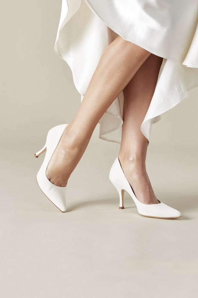 Designer Bridal Shoes Ivory Suede Court Shoes By Emmy London