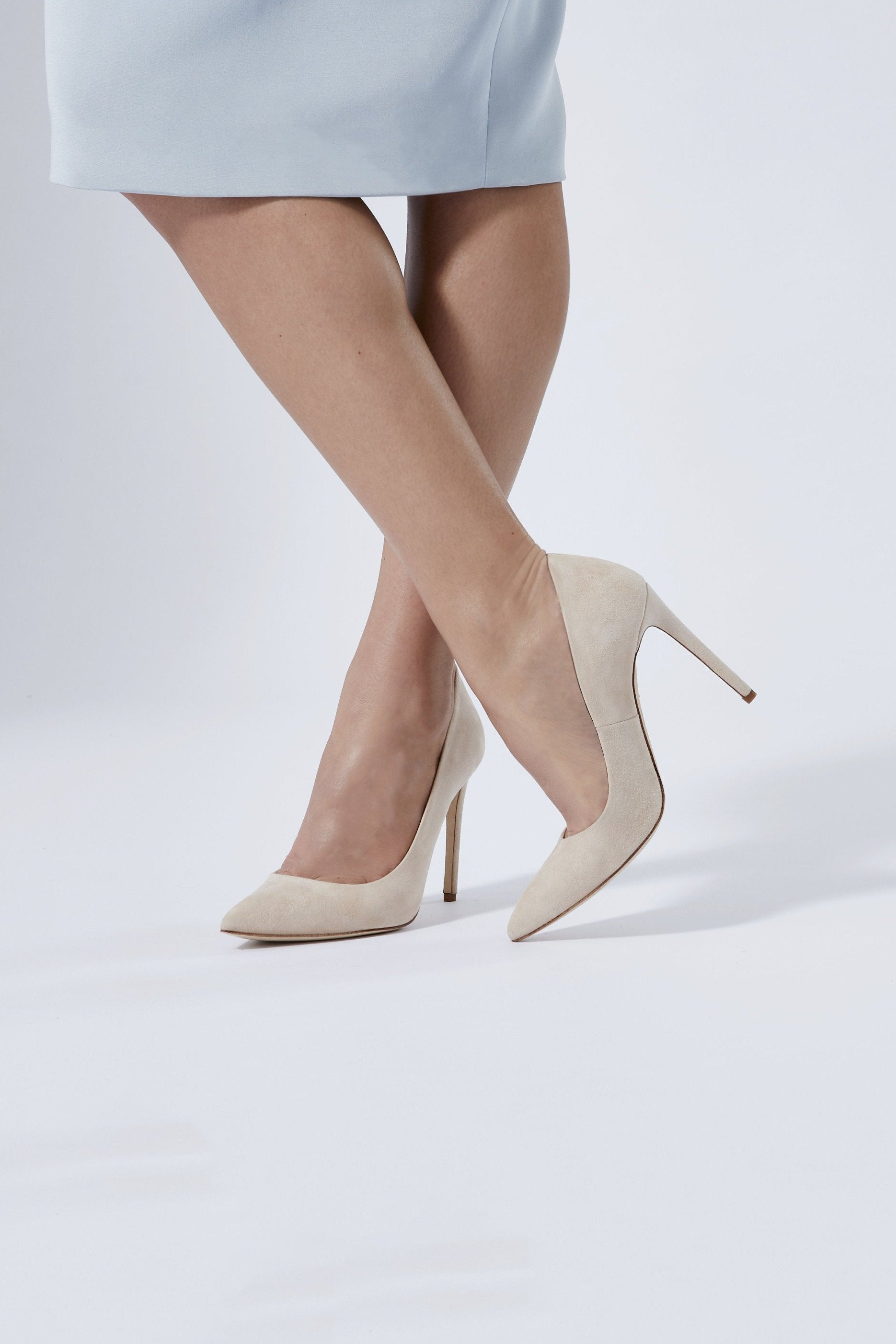 Rebecca Blush Pointed Stiletto Court Shoe by Emmy London