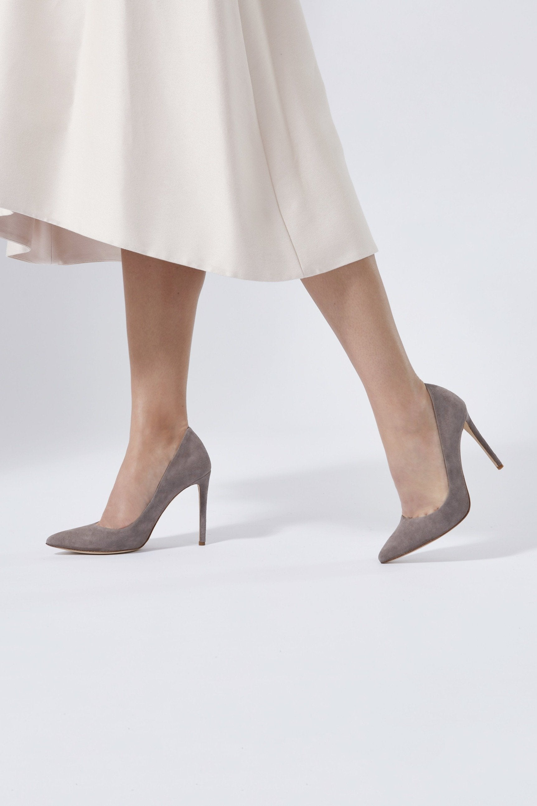 41d48247905 ... Emmy London Rebecca Pointed Court Shoe in a Warm Grey Suede ...