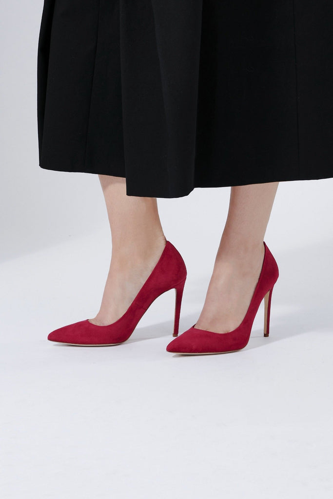 Rebecca Lipstick Court Shoe with Super High Heel in a Hot Red Designed By Emmy London