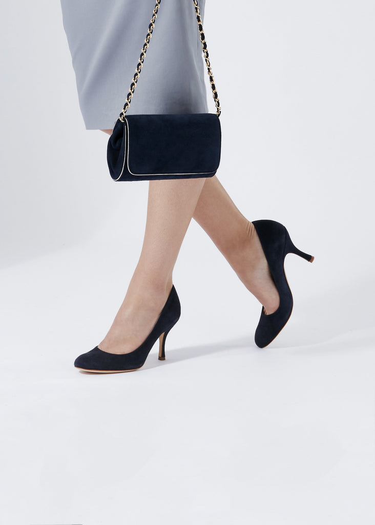 Emmy London Midnight Blue Suede Court Shoe Mid Heel