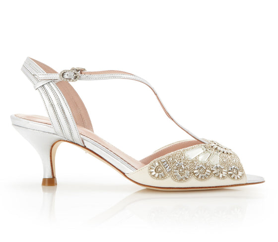 Ella Silver - Bridal Shoe - Ivory Kid Suede - Low Heel - Sandal - Swarovski and Mirrored Glass Trim