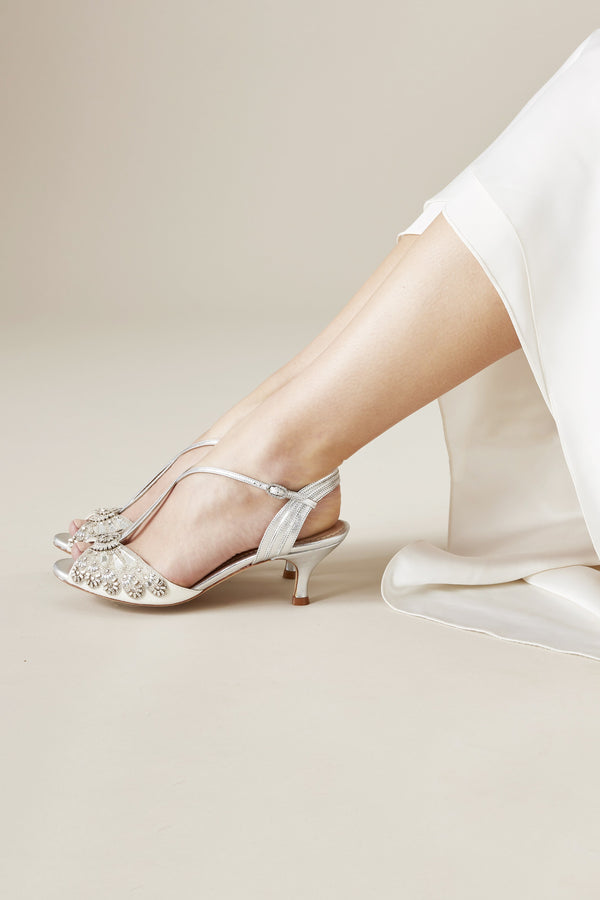 silver low heel wedding shoes buy ella silver ivory low heel wedding sandal emmy 7440
