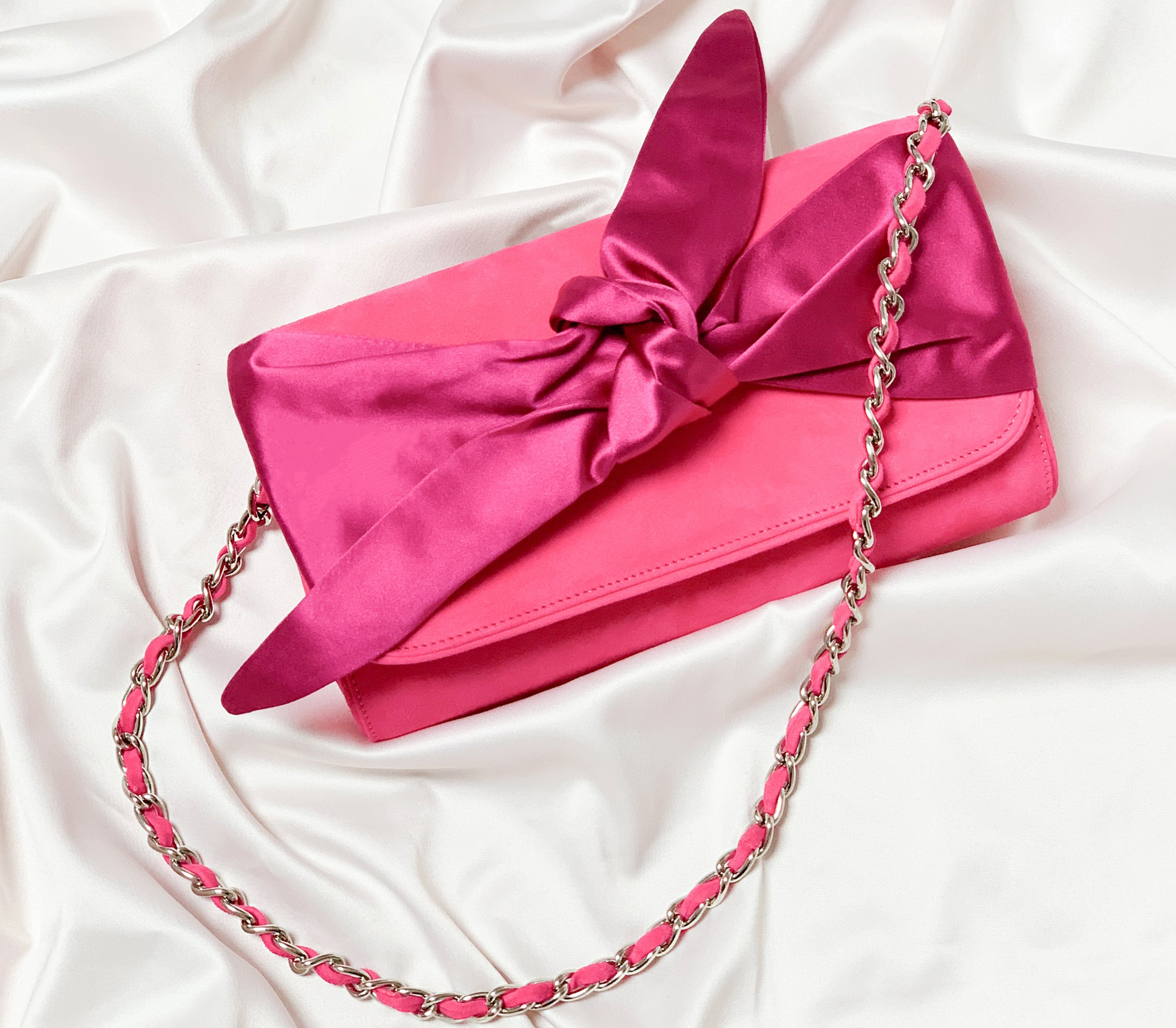 Florence Clutch Bag in Fuchsia Pink By Emmy London