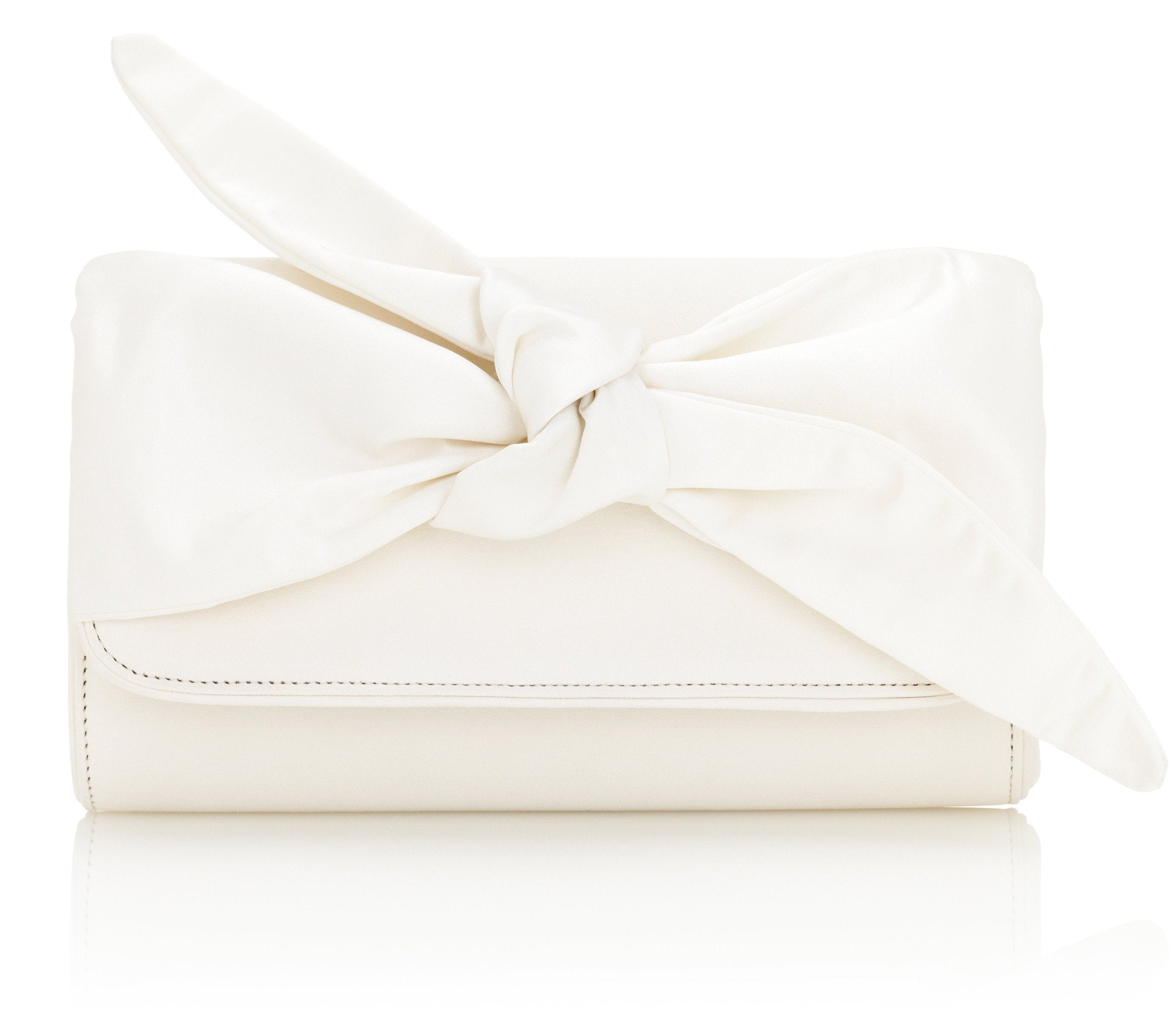 Florence Ivory Clutch Bag With Satin bow Detail