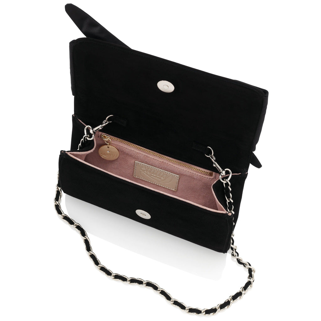 Florence Jet Clutch With Black Satin Bow Handmade Using Suede and Chain