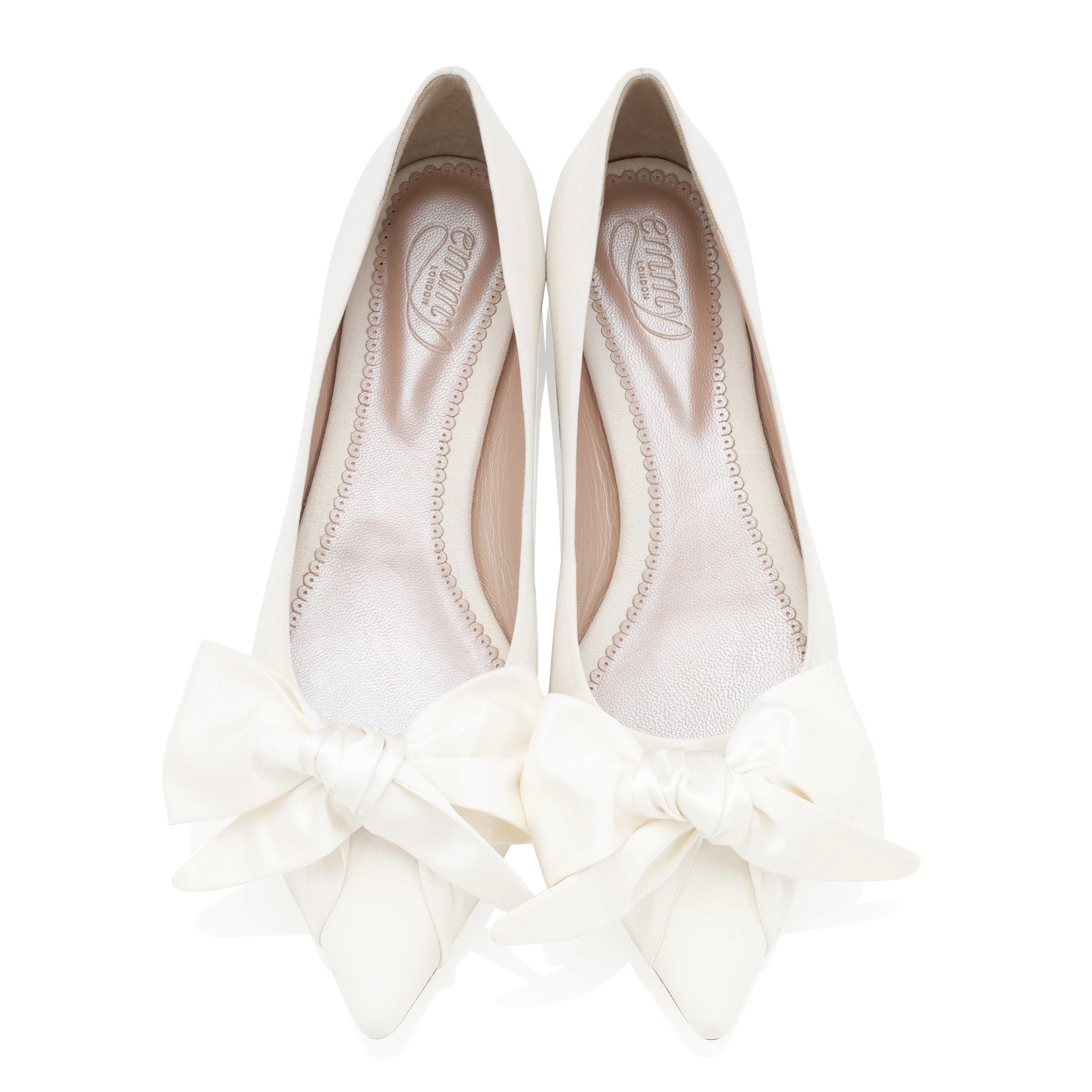 Florence Flat Bridal Shoes with Satin Bow By Emmy London