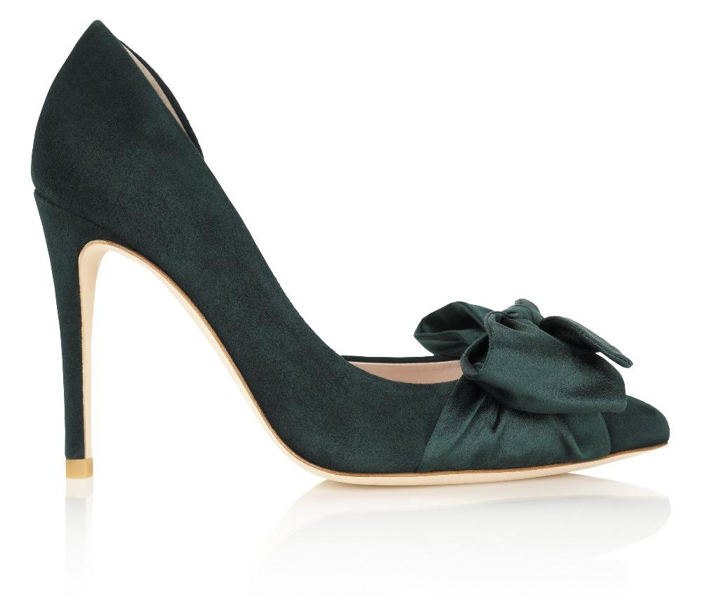 Designer Green Satin Evening Shoes with Bow By Emmy London