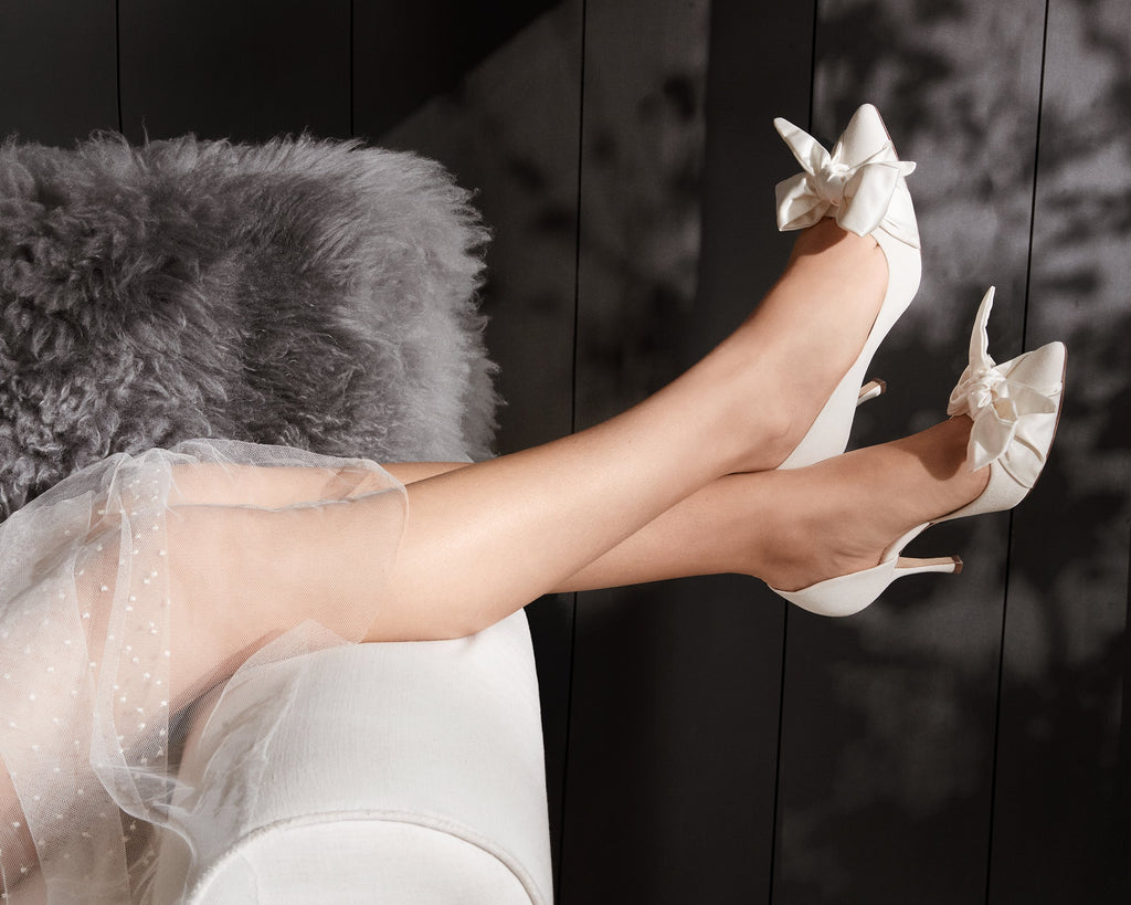 Florence Bridal Shoes by Emmy London Satin Bow Ivory Suede