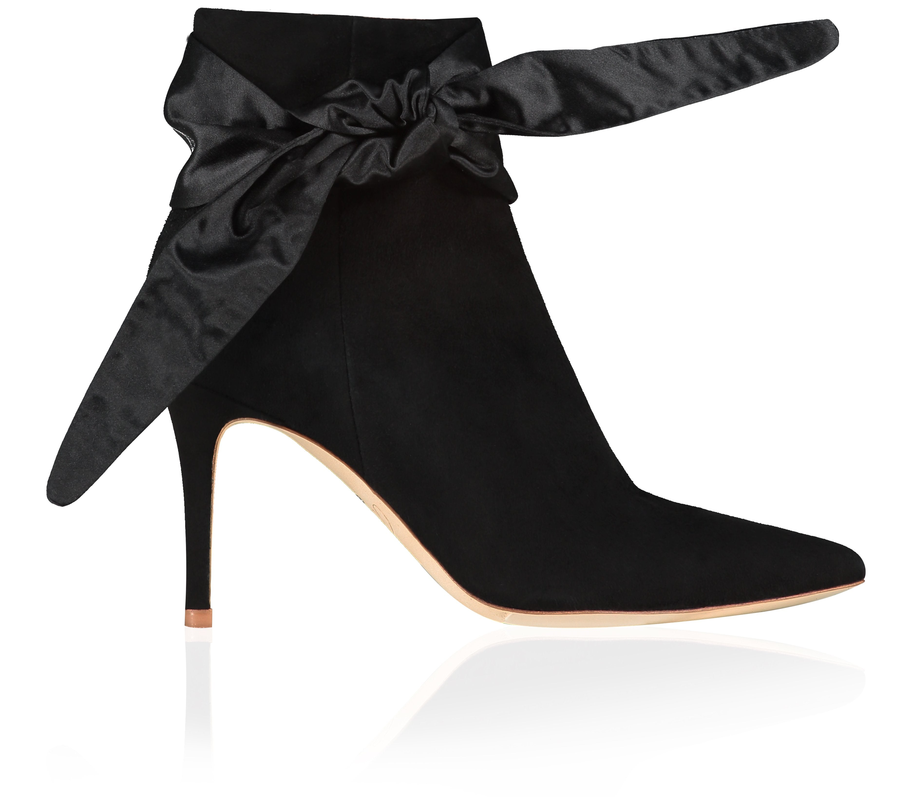 Gigi Jet Luxury Boots with Satin Sash Tie By Emmy London