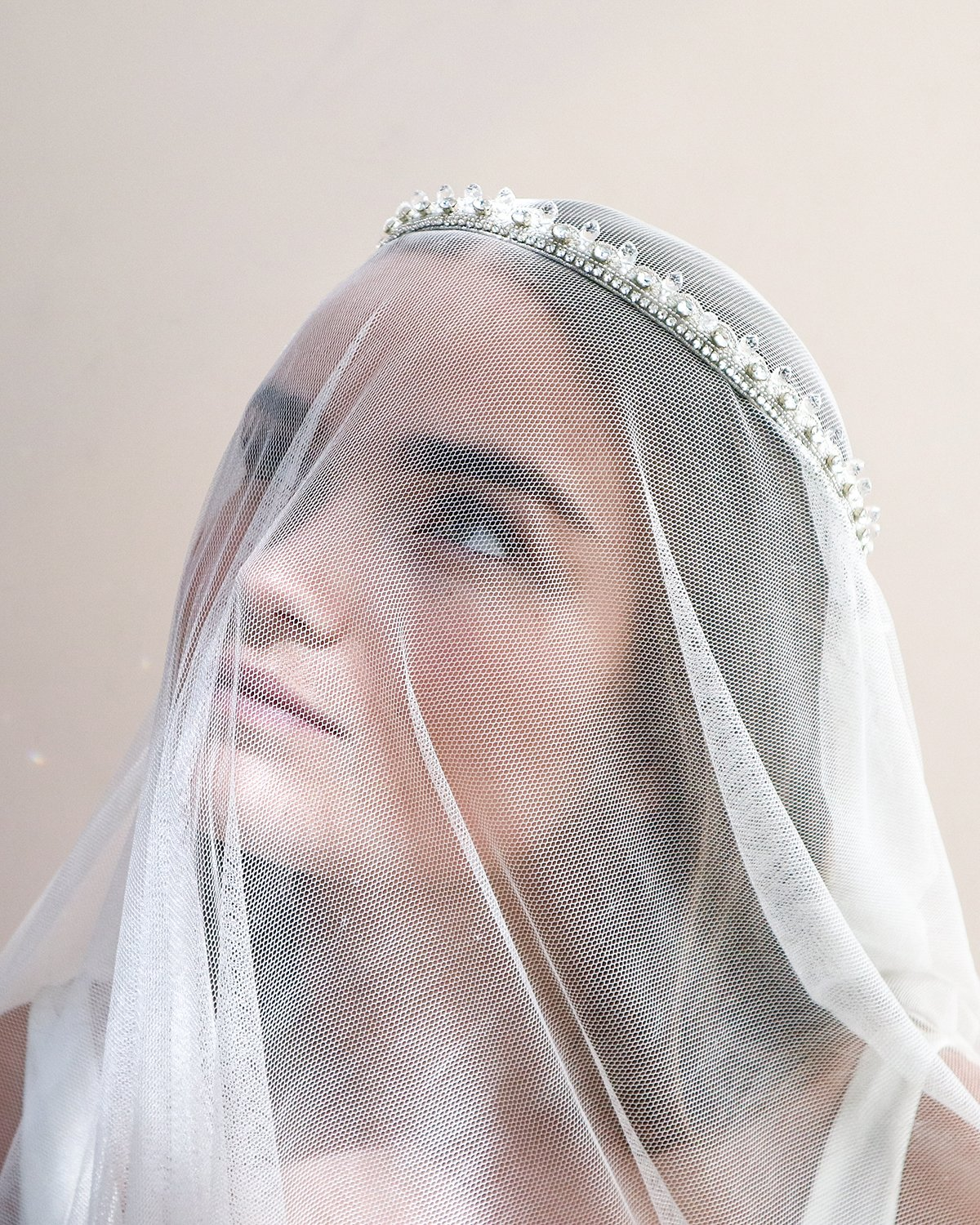 Gabriella Luxury Crystal Bridal Hair Halo By Emmy London On Model