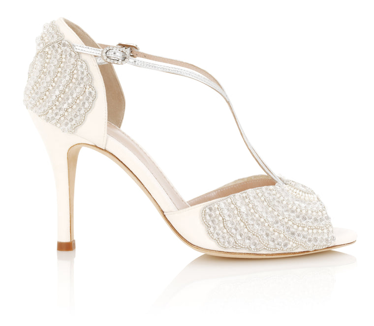 Gabriella Ivory Swarovski Crystal Wedding Shoes Handmade by Emmy London