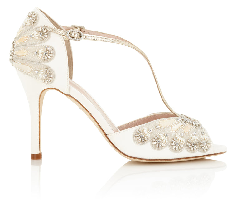 be78d1e40716 Georgette Ivory and Gold Embellished Wedding Shoes Designed by Emmy London  ...