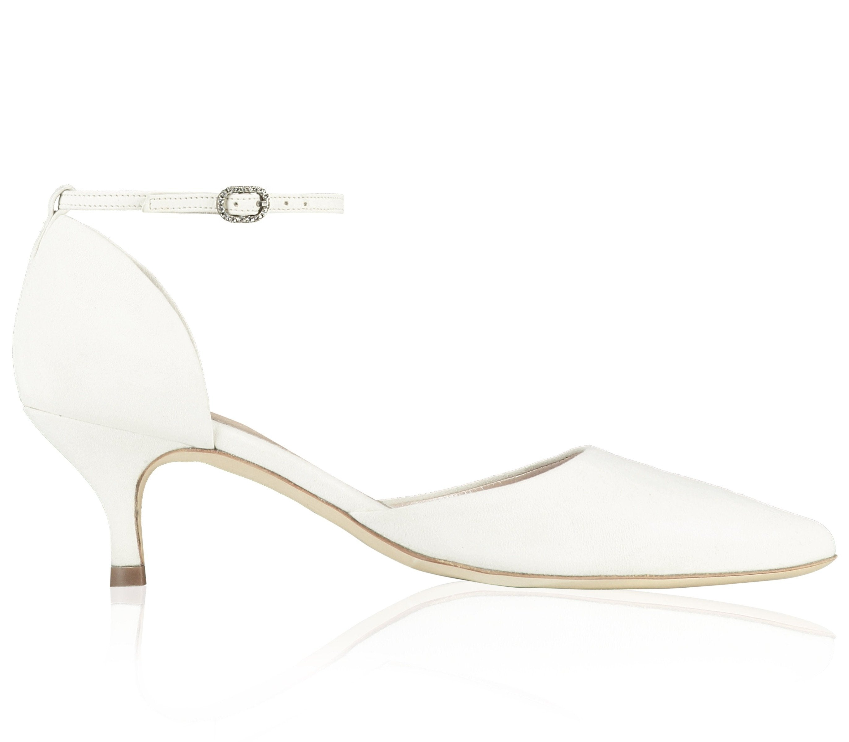 Harriet Ivory Suede Bridal Shoes Low Heel