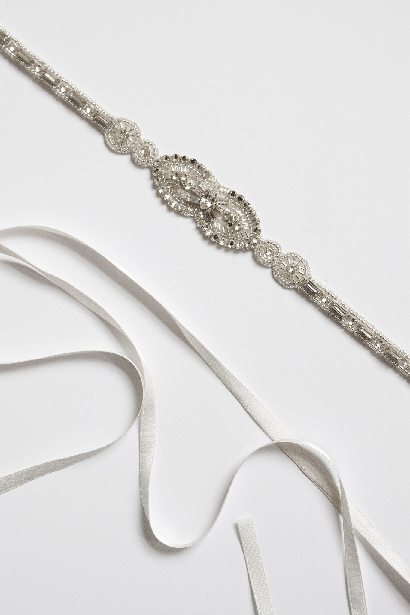 Teardrop Belt - Bridal Accessories - Belts - Crystal and Silver Beads