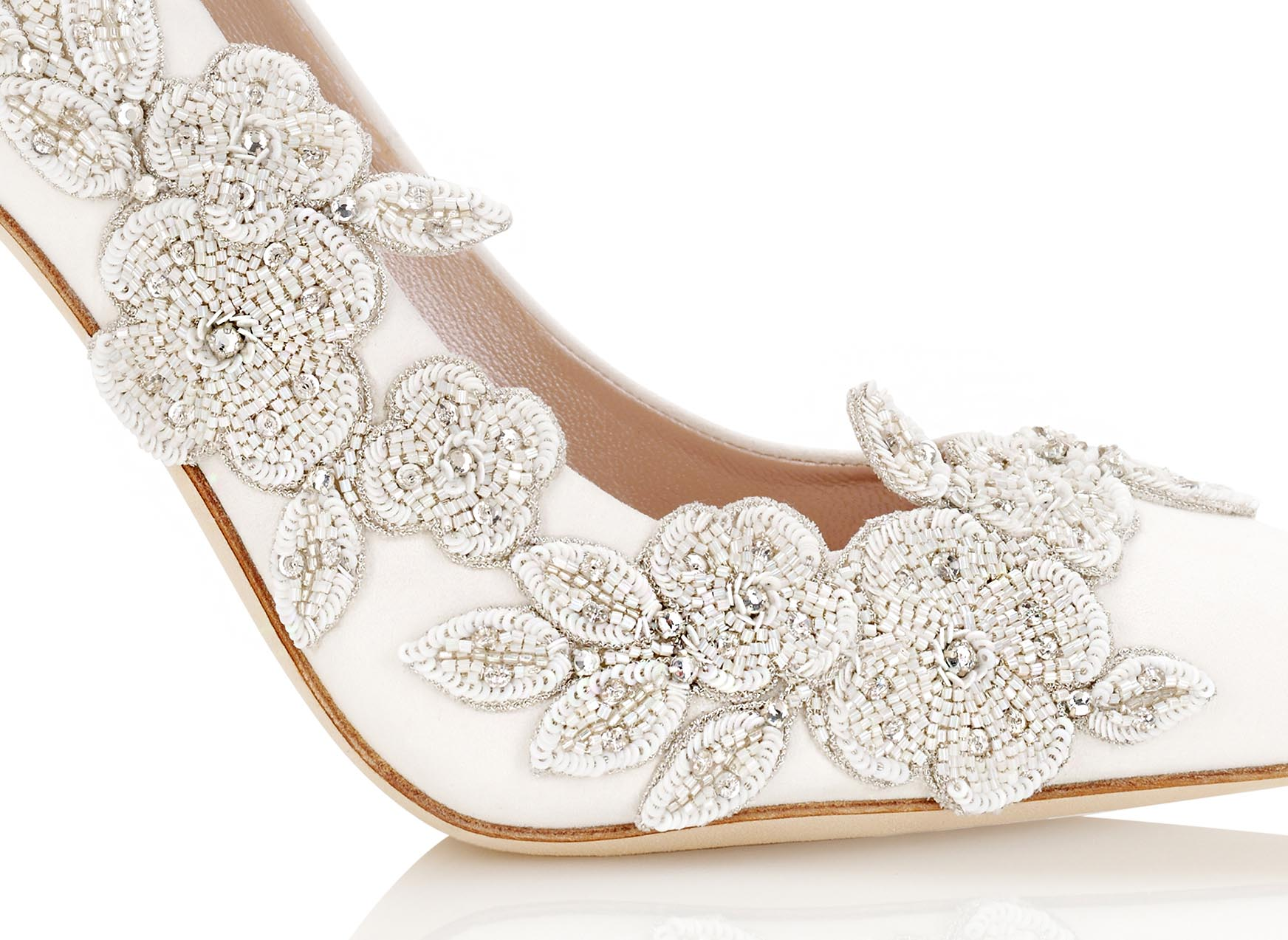 Isadora Ivory Bridal Shoes Close Up of Floral Details By Emmy London