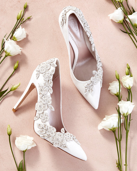 Floral Ivory Wedding Shoe Designed By Emmy London