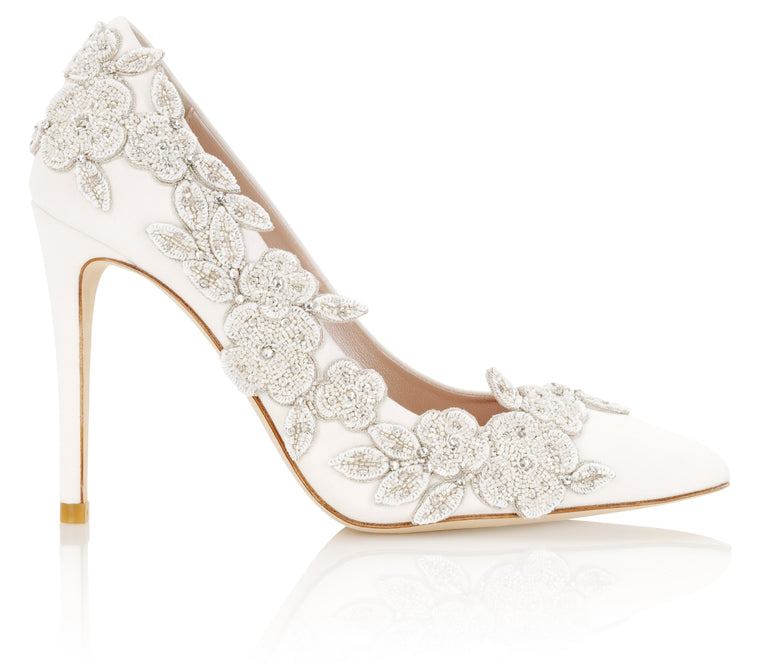 6adccde25e6d83 Floral Ivory Wedding Shoe Designed By Emmy London ...