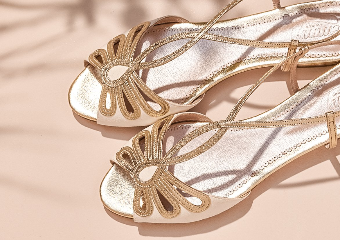 Jasmine Flat Bridal Sandal Created by Emmy London
