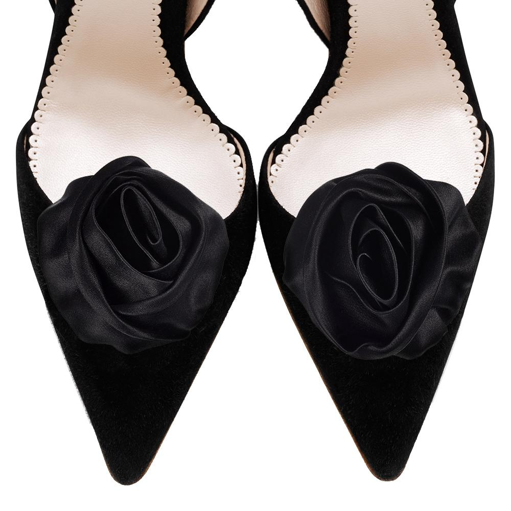 Jet Ruched Rose Shoe Clips
