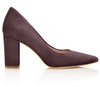 Josie Mocha Block Heel Luxury Court Shoes By Emmy London