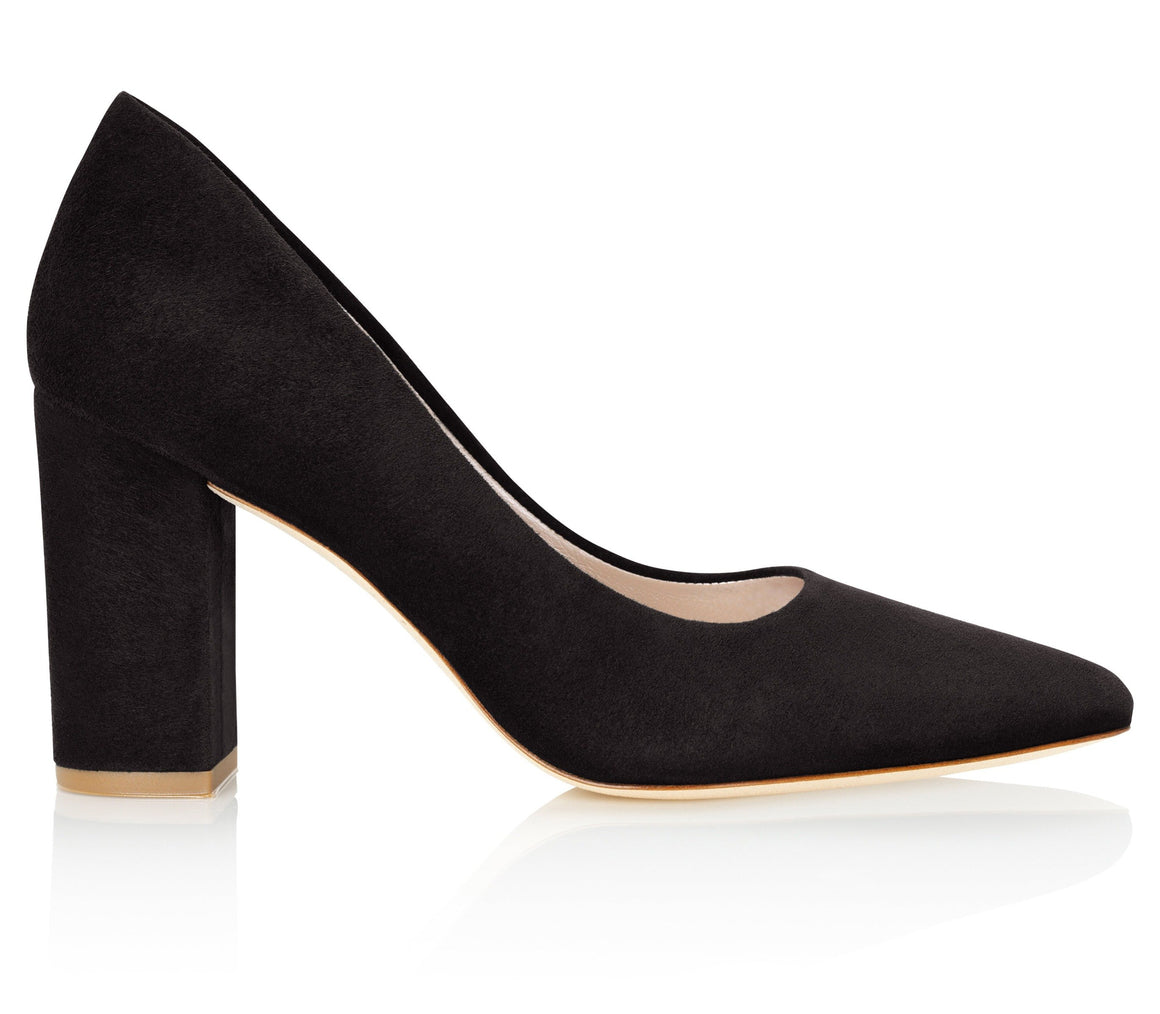 Block Heel Black Suede Court Shoes By Emmy London