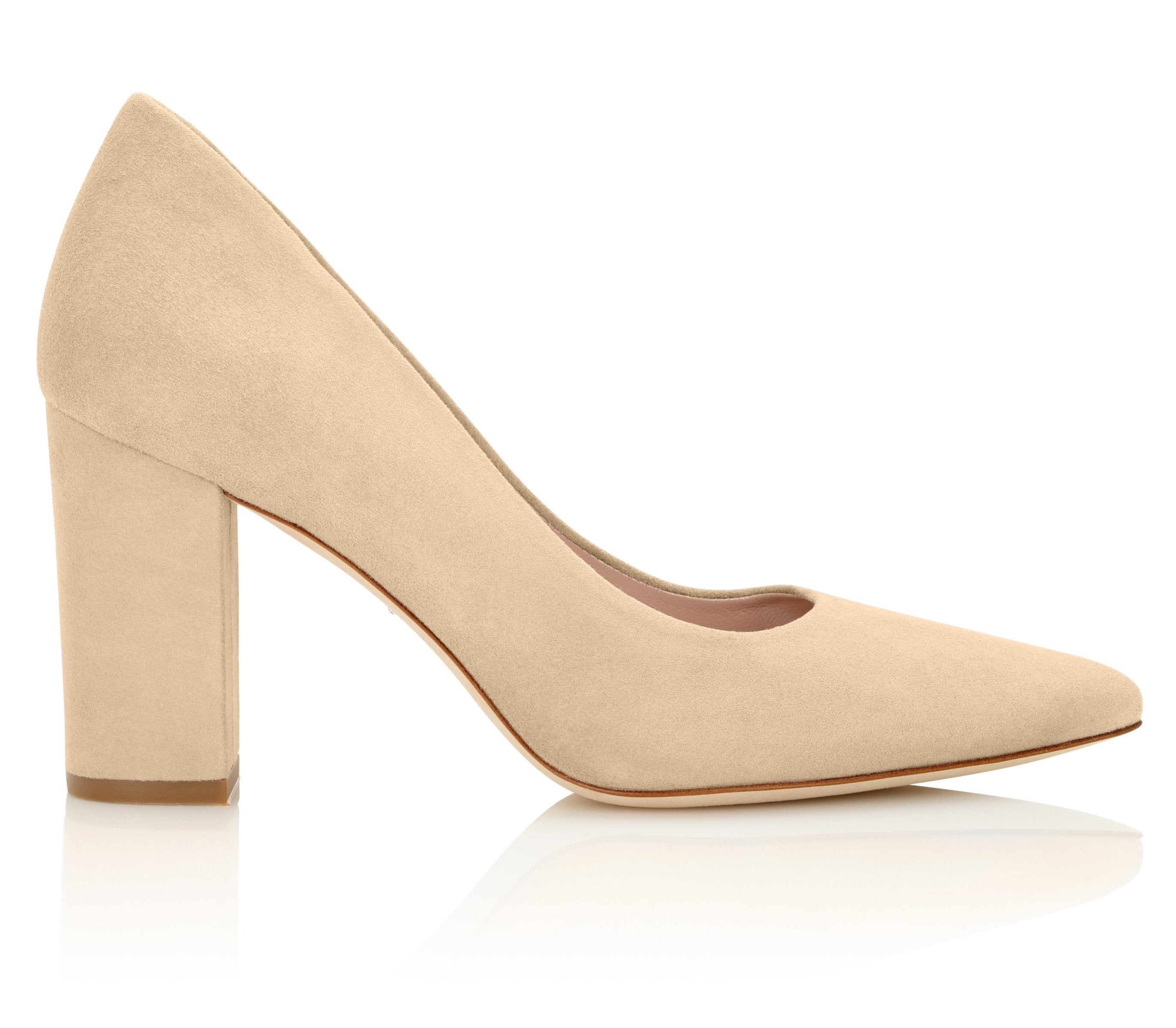 Josie Biscuit Block Heel Court Shoes By Emmy london