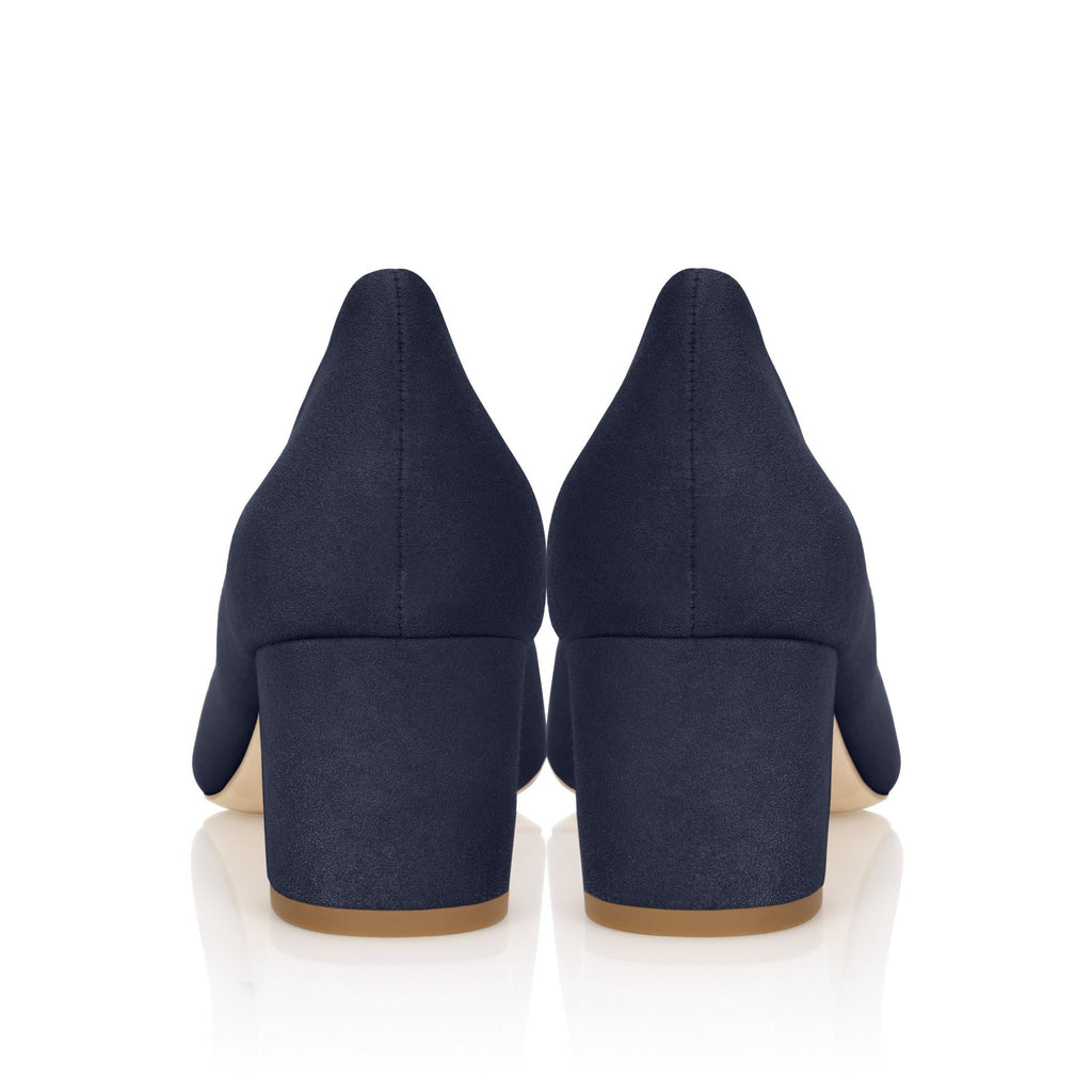 Navy Kitten Heel Court Shoe Designed in London By Emmy London