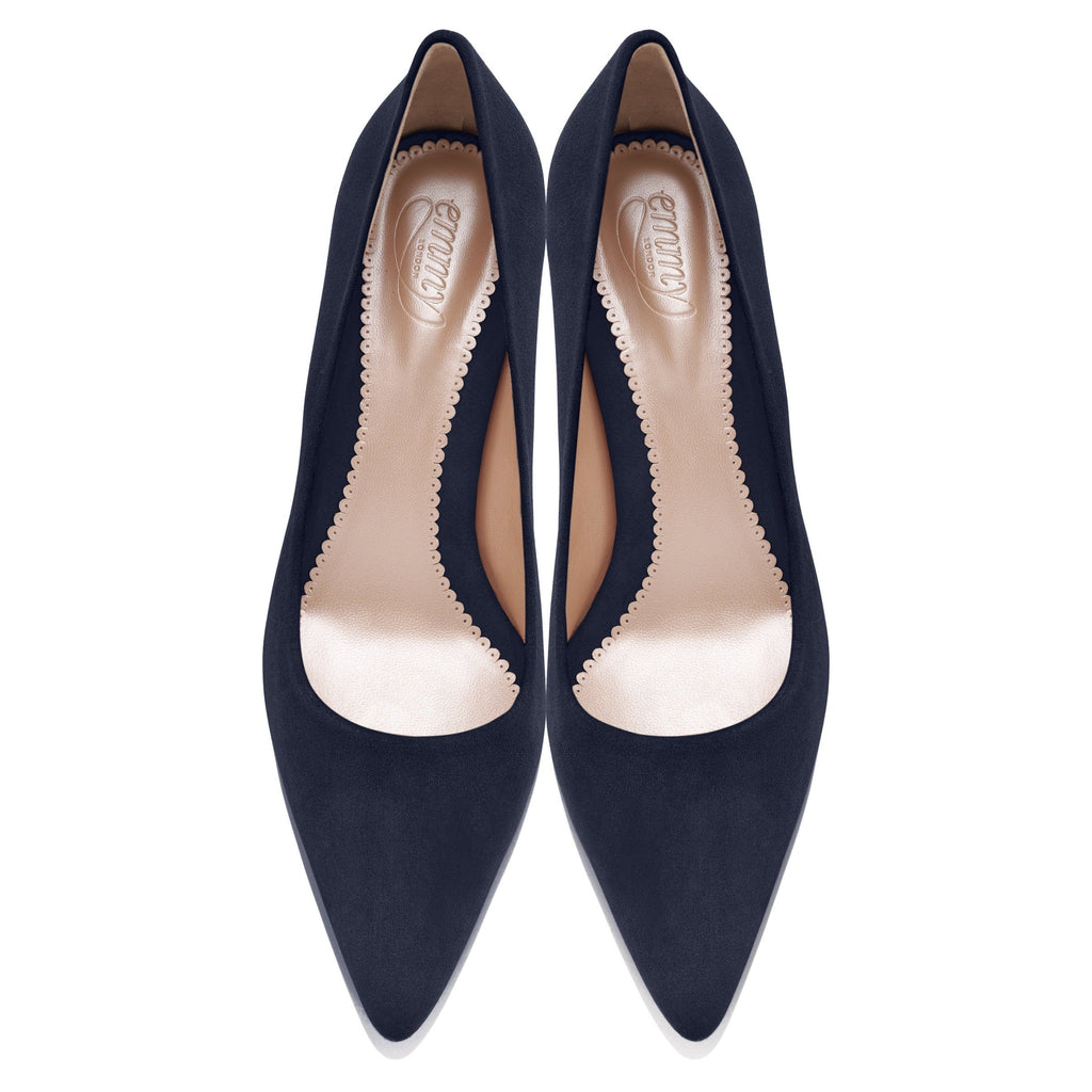 Block Heel Navy Court Shoes Designed in London by Emmy Scarterfield