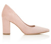 Josie Block Heel Rose Pink Suede Court Shoe Designed By Emmy London