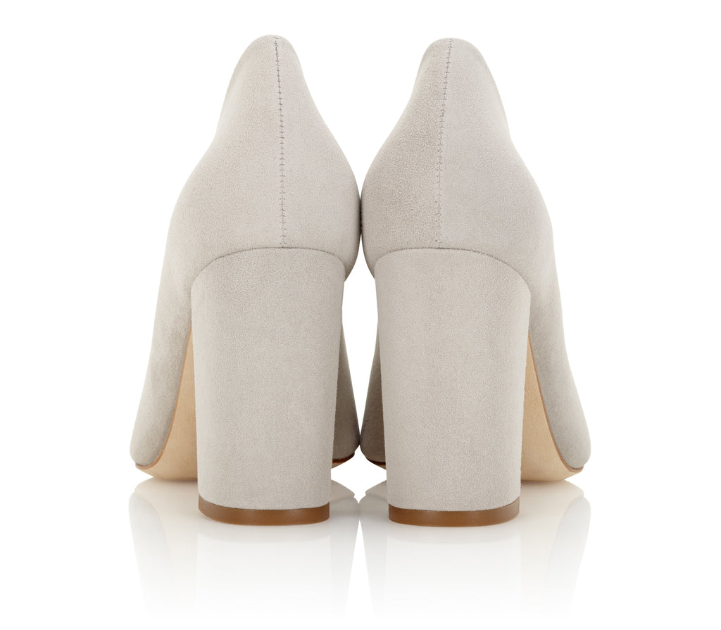 Grey Suede Block Heel Court Shoe Handmade and Designed By Emmy London