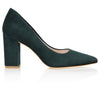 Dark Green Suede Block Heel Court Shoes Designer By Emmy London