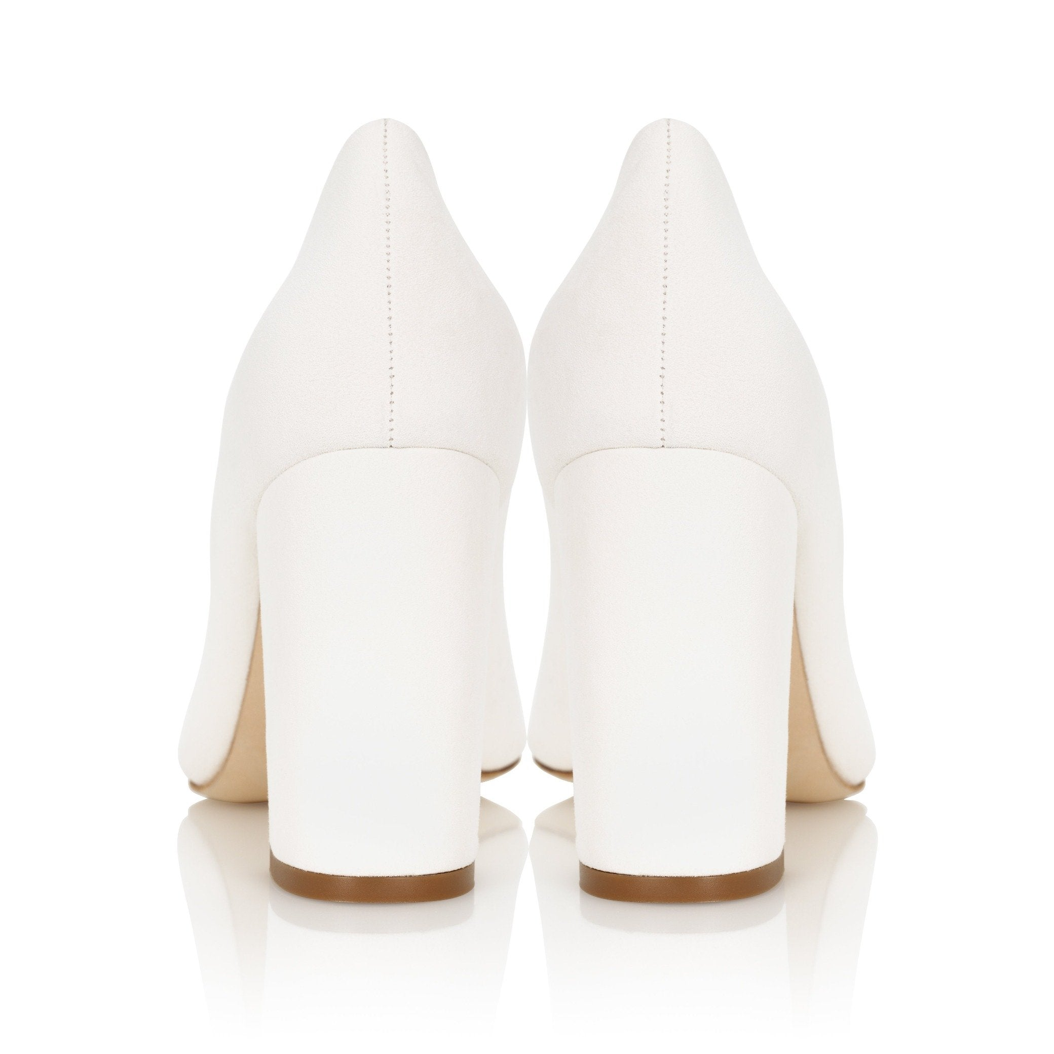 Josie Ivory Block Suede Court Shoes by Emmy London