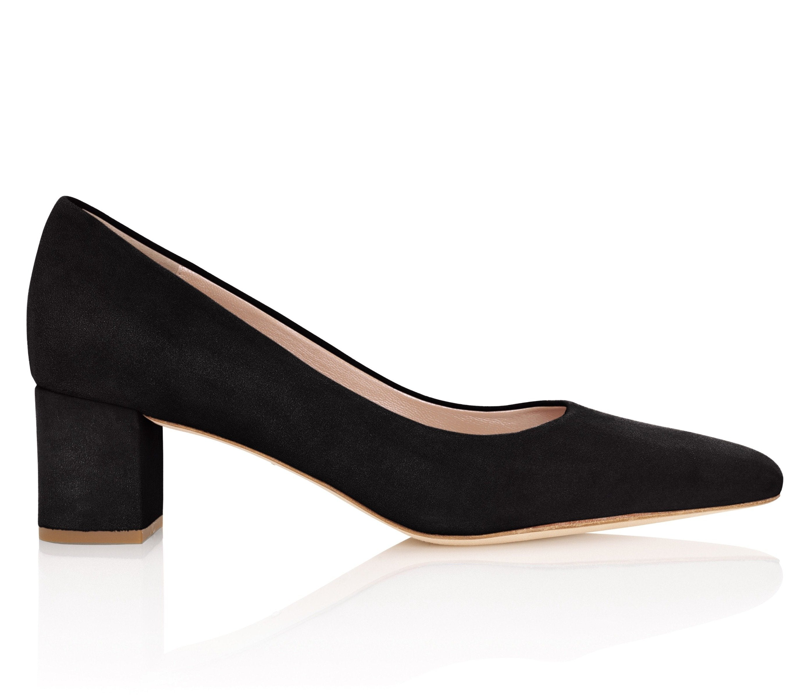 Jet Black Suede Block Heel Court Shoes By Emmy London