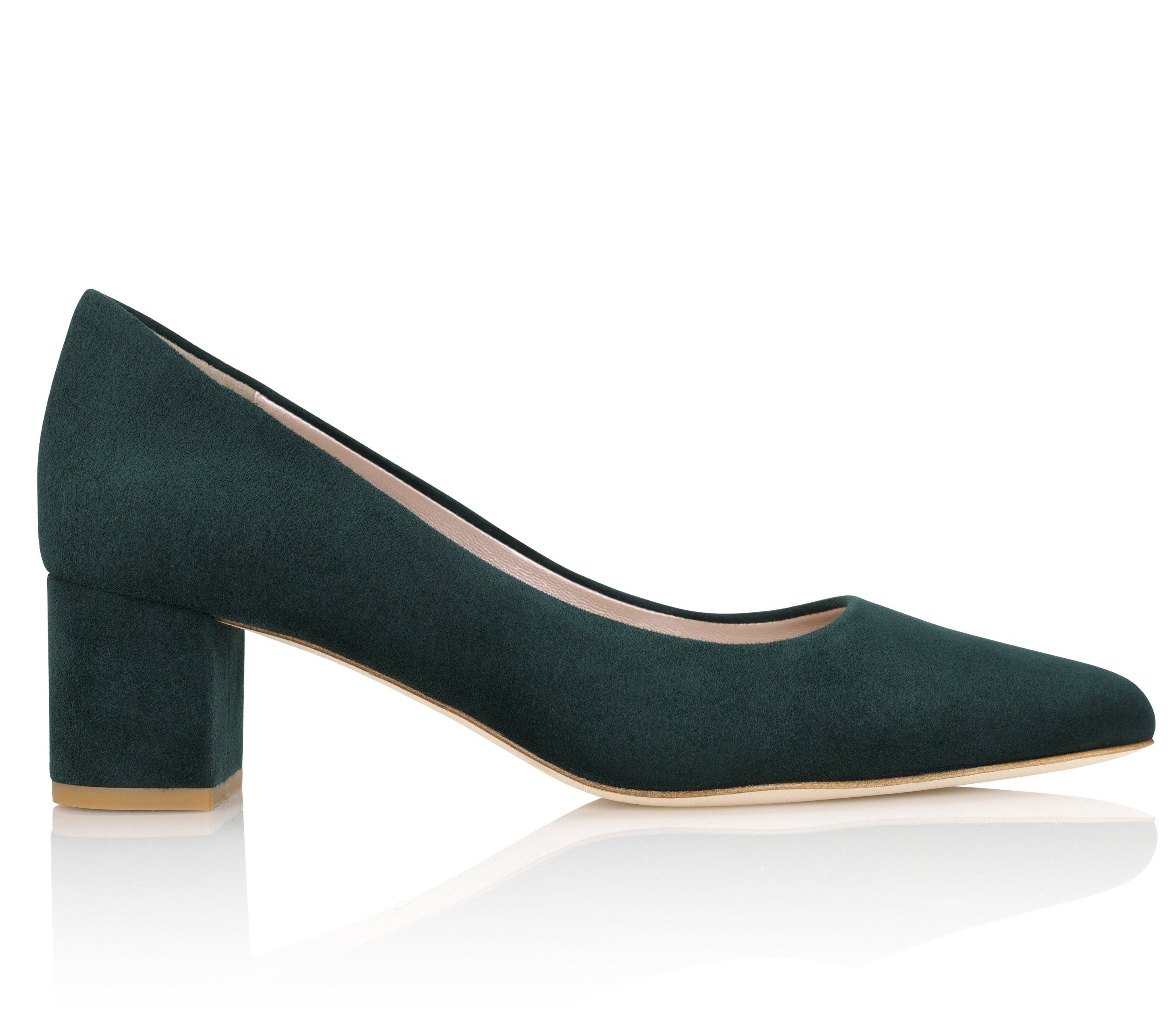 Dark Green Suede Block Heel Court Shoe Designed By Emmy London