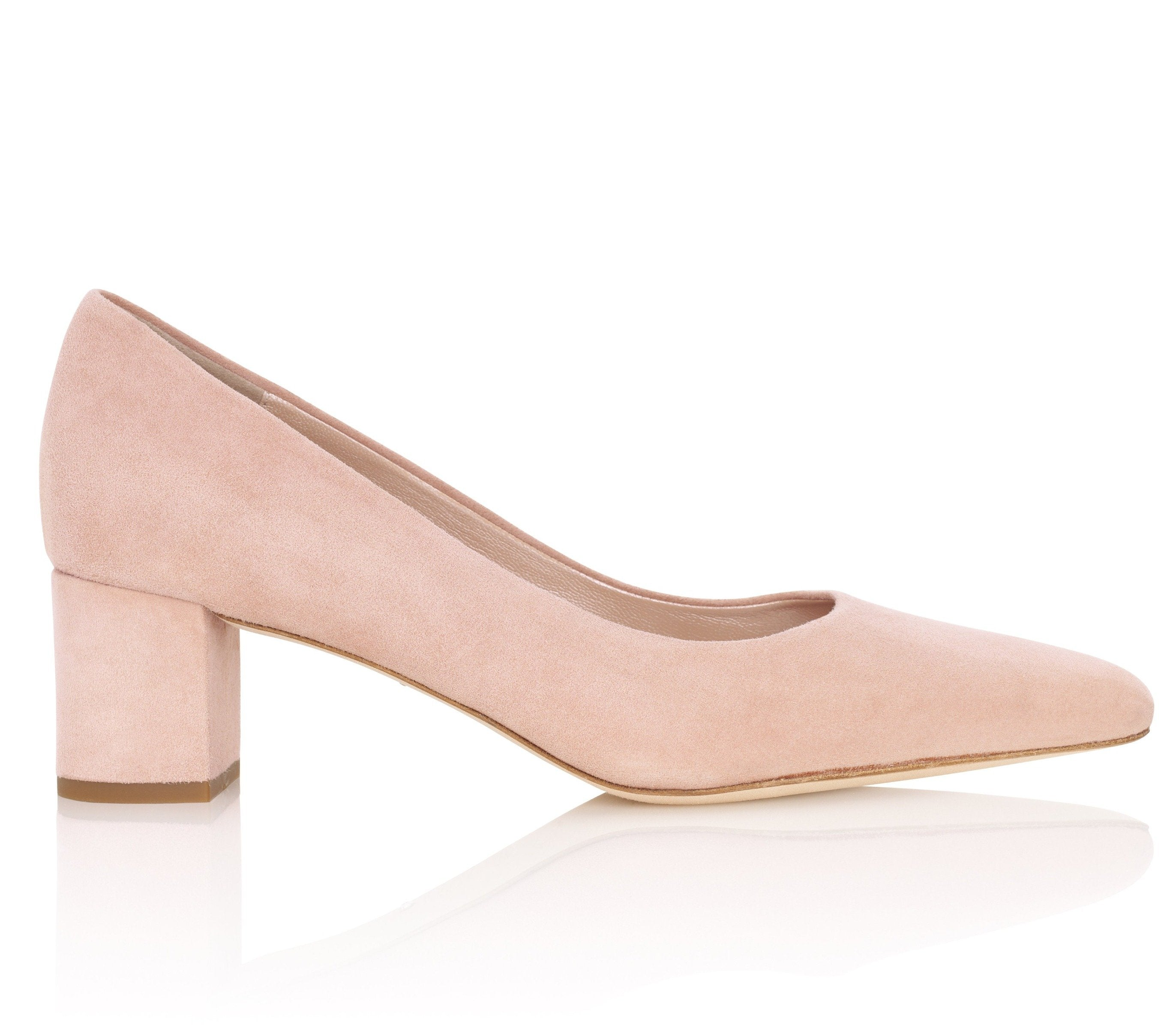 Josie Kitten Misty Rose Suede Luxury Court Shoes