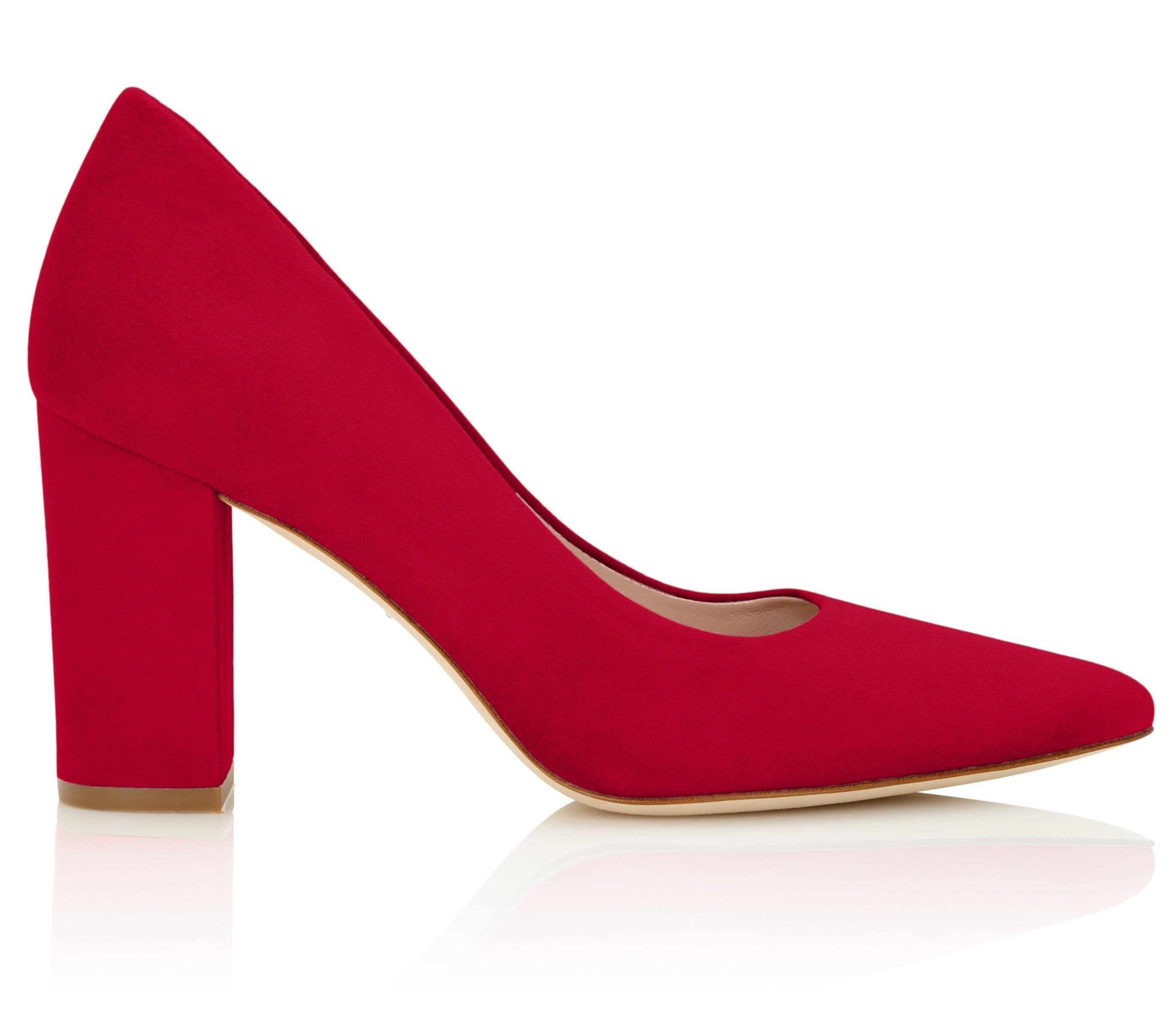Josie Block Heel Court Shoes In Lipstick Red By Emmy London