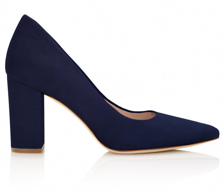 Navy Suede Block Court Shoes Designer Shoe By Emmy London